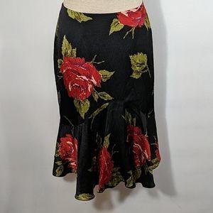 Trina Turk Black Floral Silk Skirt Size 8